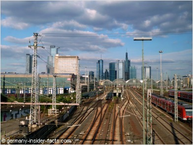 Frankfurt main station with skyline