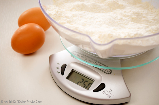 scale with flour