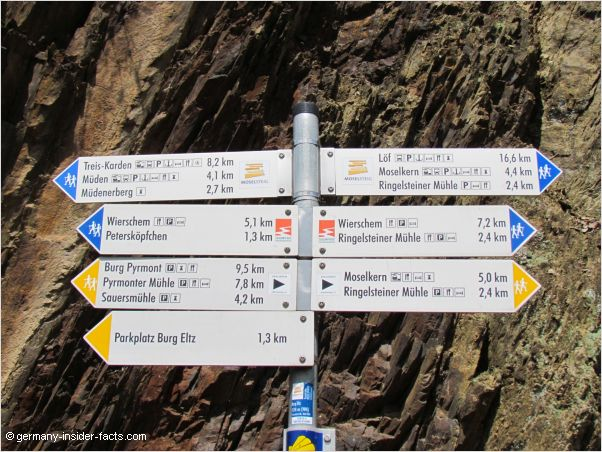 signposts at eltz castle