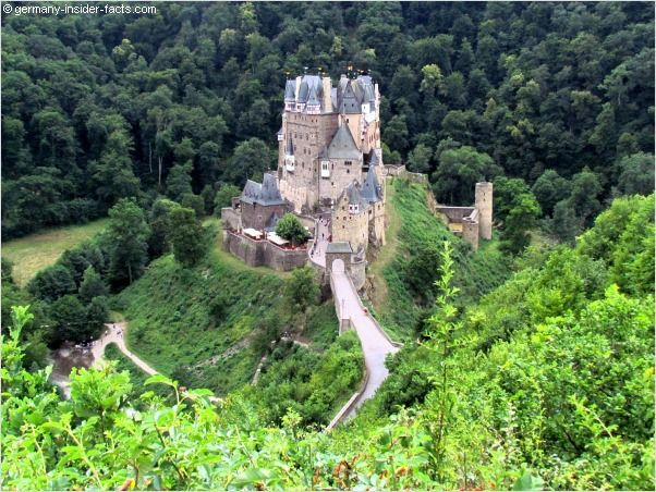 eltz castle is situated on a hill in the woods