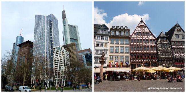 frankfurt skyline in contrast with roemerberg