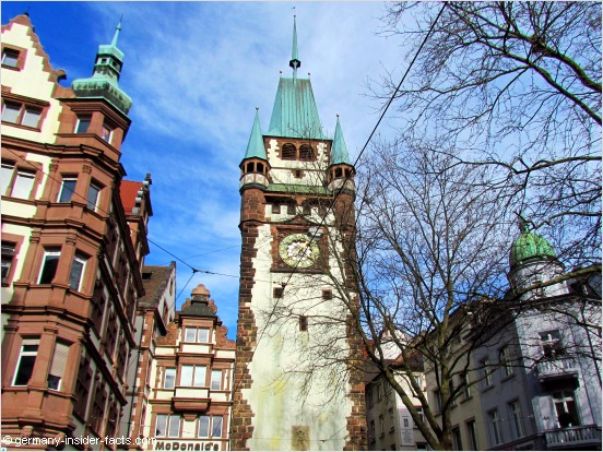 old city gate martinstor in freiburg germany