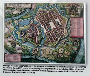 Old city map of Hanau