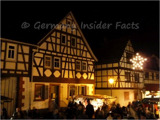 fachwerk houses and christmas decorations