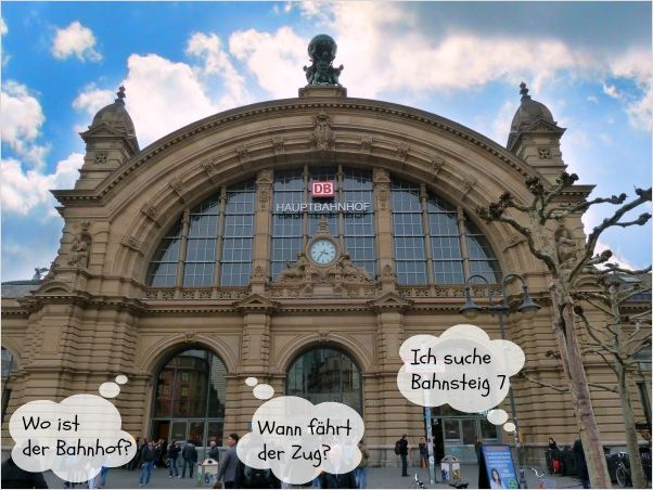 train station with phrases included in bubbles