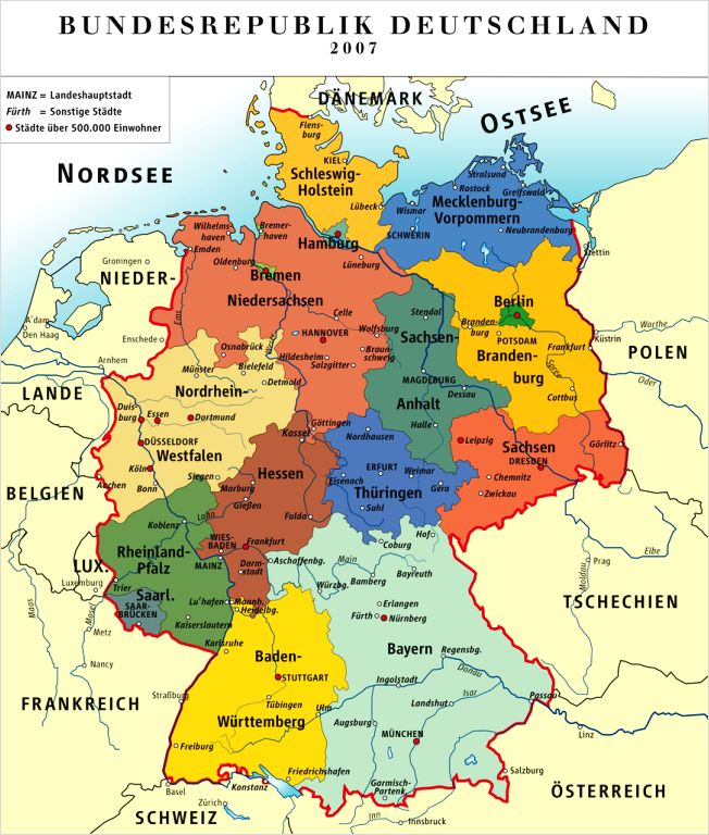 German States Basic Facts Photos Map Of The States Of Germany - Germany map with major cities