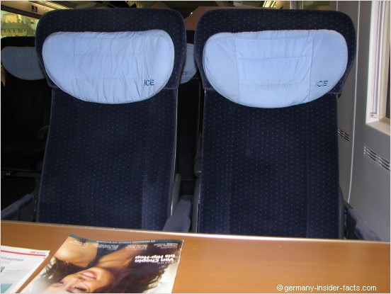 seats in an ICE trin