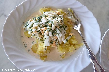 potatoes, eggs, chives sauce