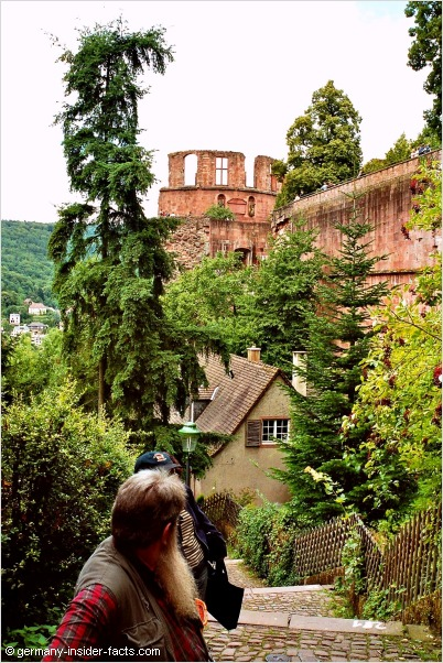 walking the stairs up to heidelberg castle