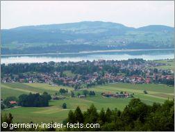 town at a lake