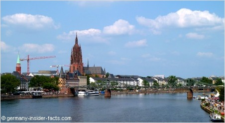 river main and the cathedral in frankfurt