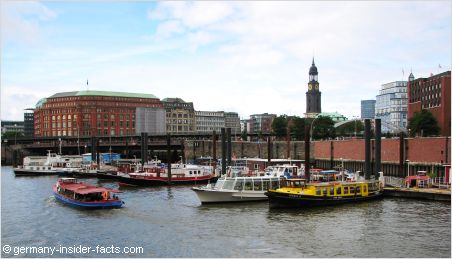 view of hamburg habour and the michel