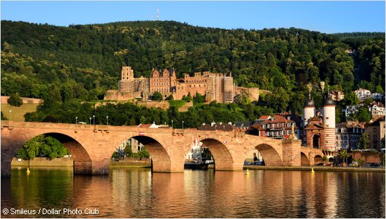 neckar, old bridge and heidelberg castle