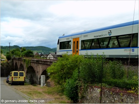 train crossing a viaduct in the mosel valley