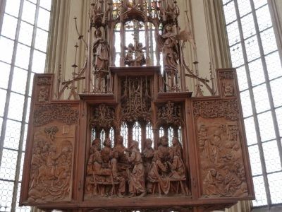 carved wooden altar piece