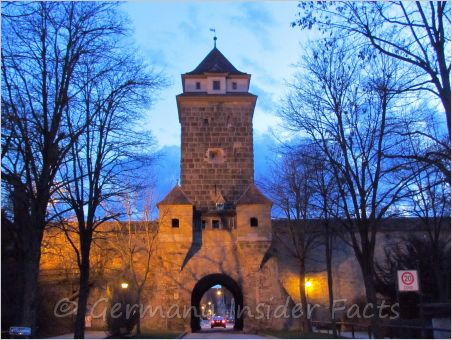 Old tower and town wall in Rothenburg