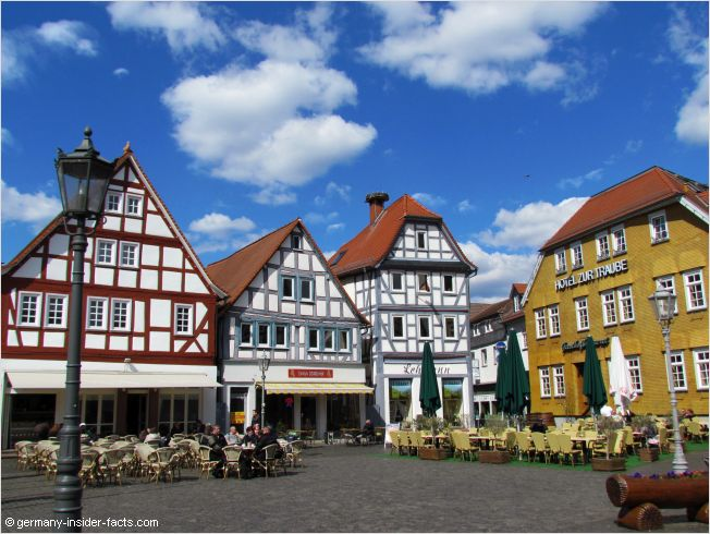 half-timbered houses in a small village