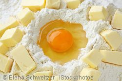 flour, egg and butter