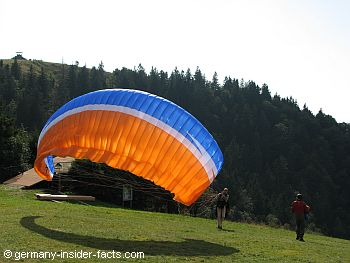 paragliders getting ready to start
