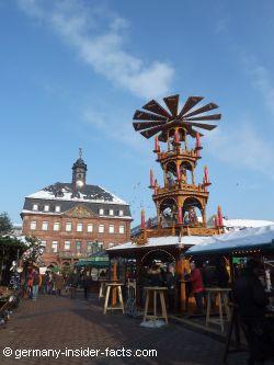 large christmas pyramid at a germany christmas market