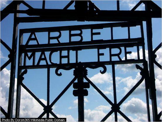 iron cast gate showing arbeit macht frei