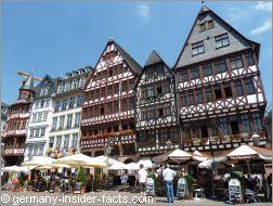row of half-timbered houses at römerberg frankfurt