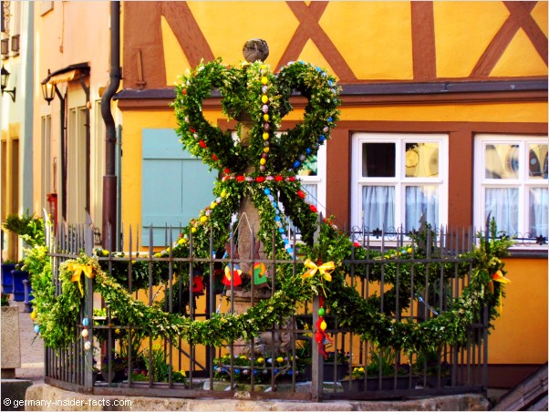 easter decoration at a fountain in rothenburg ob der tauber