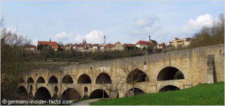The double stone bridge across the Tauber valley in Rothenburg