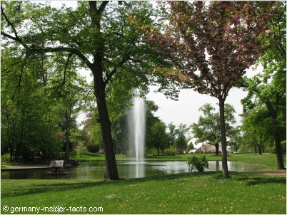 park with a fountain