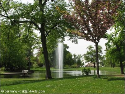 park with a fountain