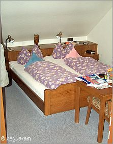 Typical German beds in a Gasthof