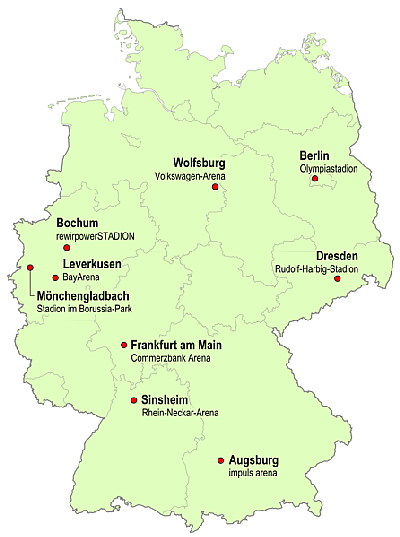 map of woman's world cup locations