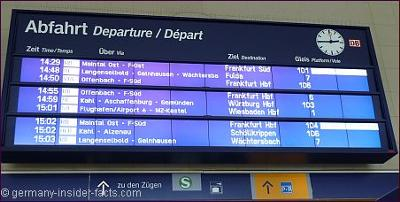 Announcement board at a German train station