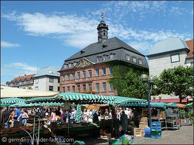 Market square and town hall in Hanau